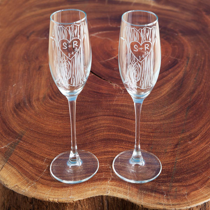 Etched faux bois wedding champagne glasses