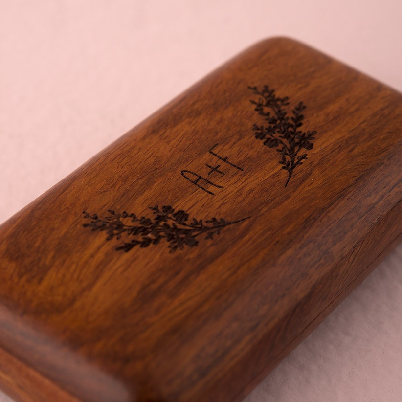 Wooden ring box custom wedding gift with couple's initials