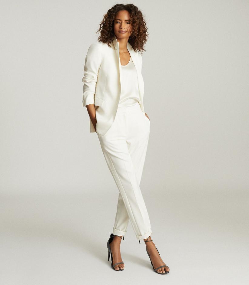 White tuxedo set rehearsal dinner outfit