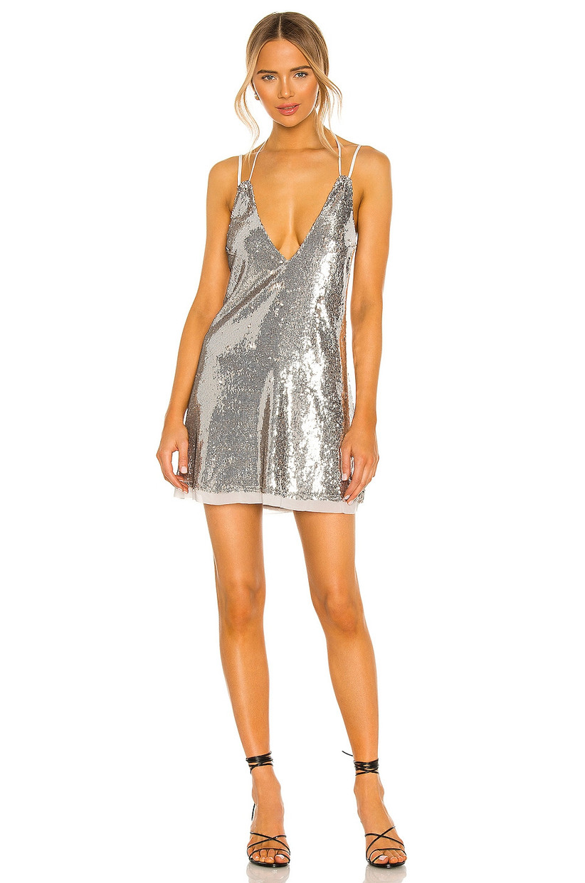 silver sequin bachelorette party mini dress low-cut v-neckline with double straps