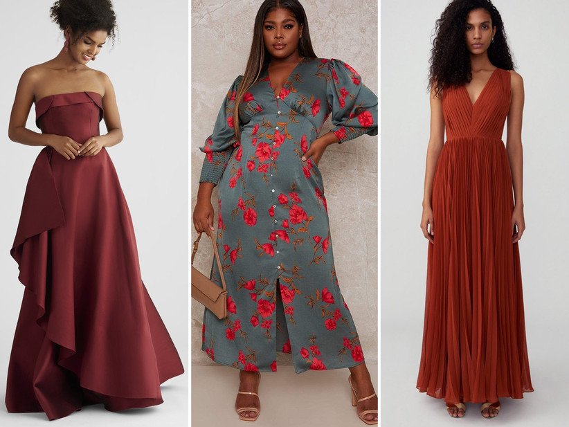 Collage of three fall wedding guest dresses