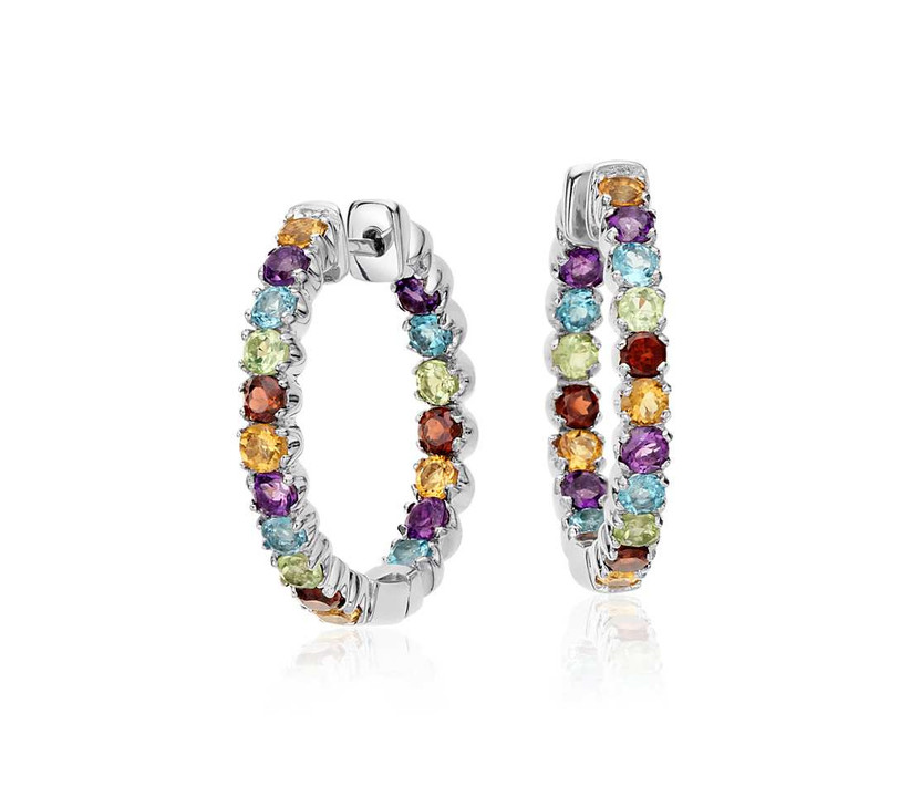 Multicolored pavé gemstone silver hoop bridesmaid earrings