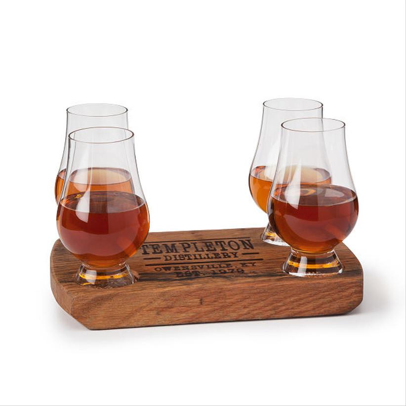 wooden holder for whiskey glasses