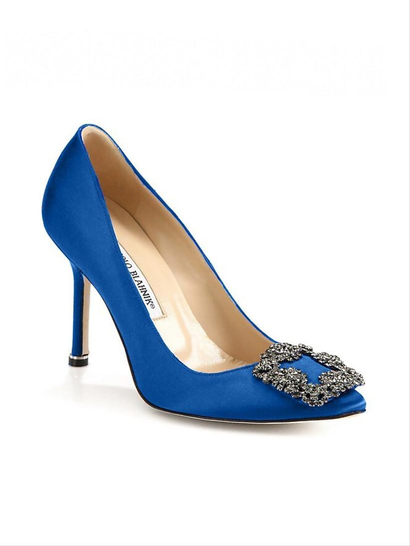 carrie bradshaw blue wedding shoe manolo blahnik stiletto pump with square rhinestone detail at toe
