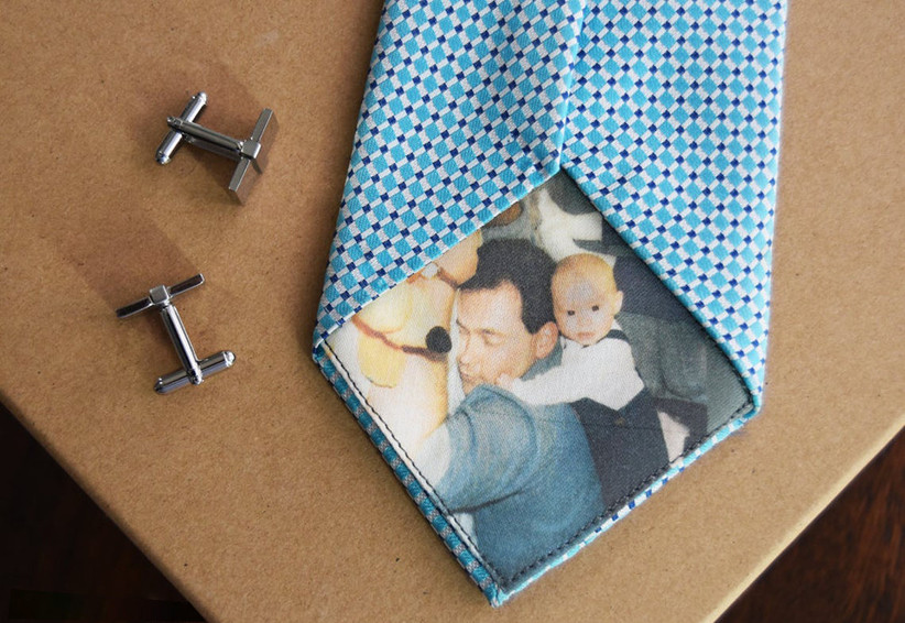 Personalized photo tie patch on blue and purple print tie father of the bride gift