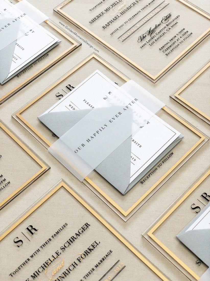 acrylic winter wedding invitations