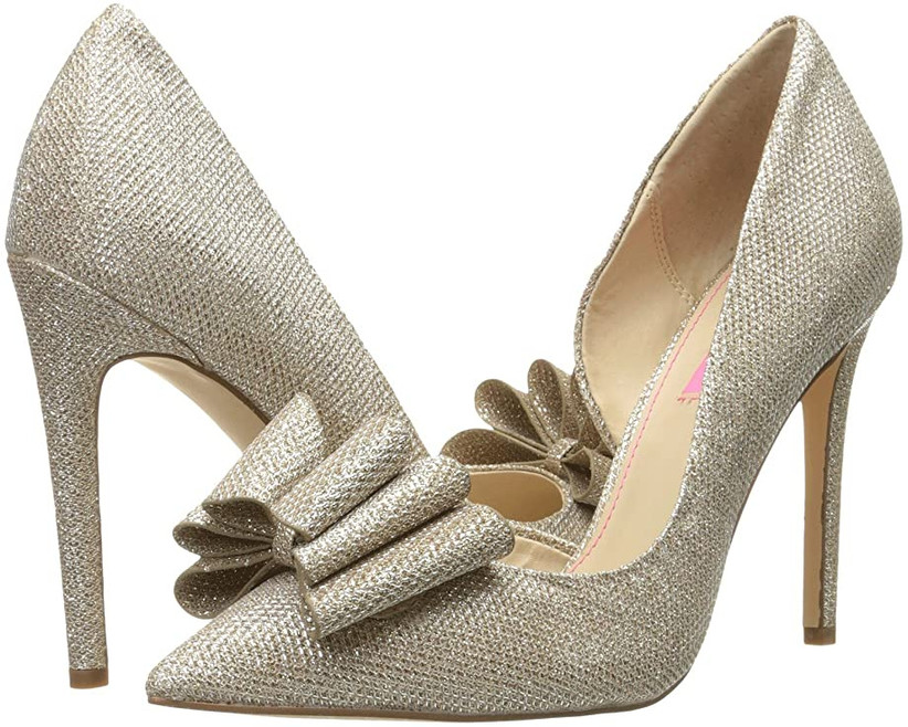 gold glitter high heel pumps with bows