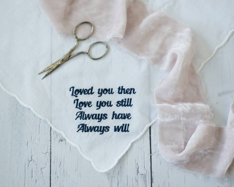 embroidered wedding handkerchief that says