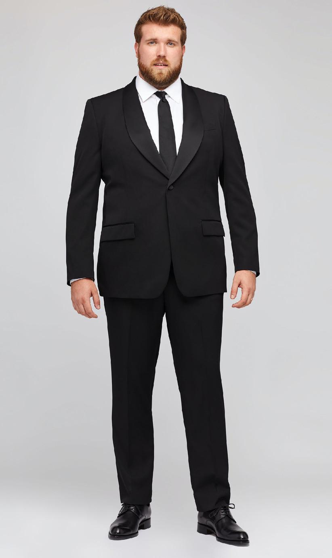 Classic black plus-size tuxedo for black tie summer wedding