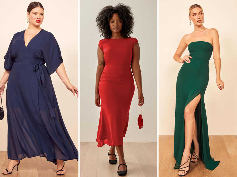 Collage of bridesmaid dresses left to right: navy V-neck wrap dress, red midaxi with capped sleeves, strapless emerald green gown with slit
