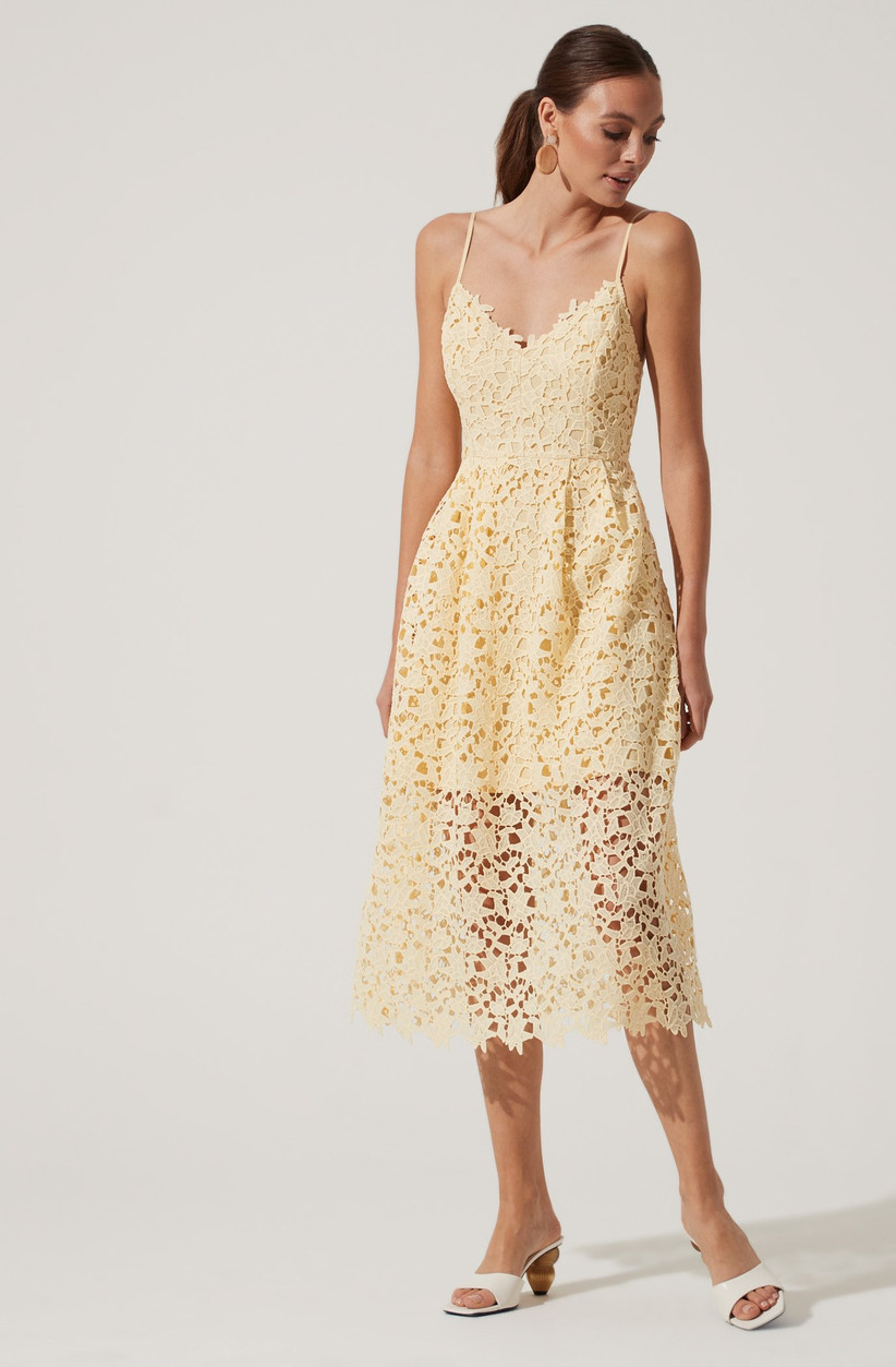 Pretty pastel yellow midi with lace overlay
