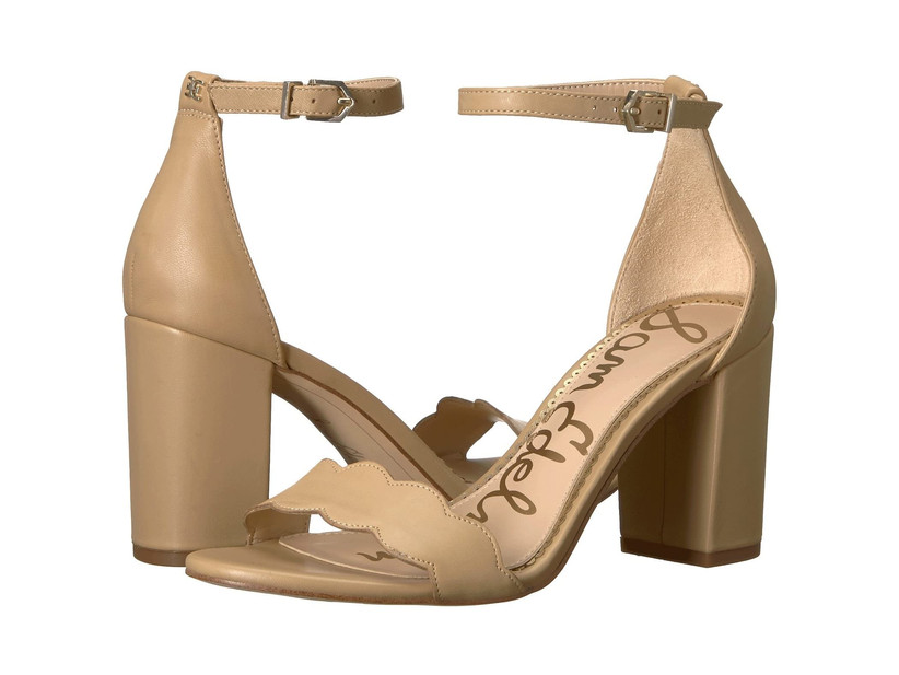 tan skin tone colored high heels with open toe and ankle strap