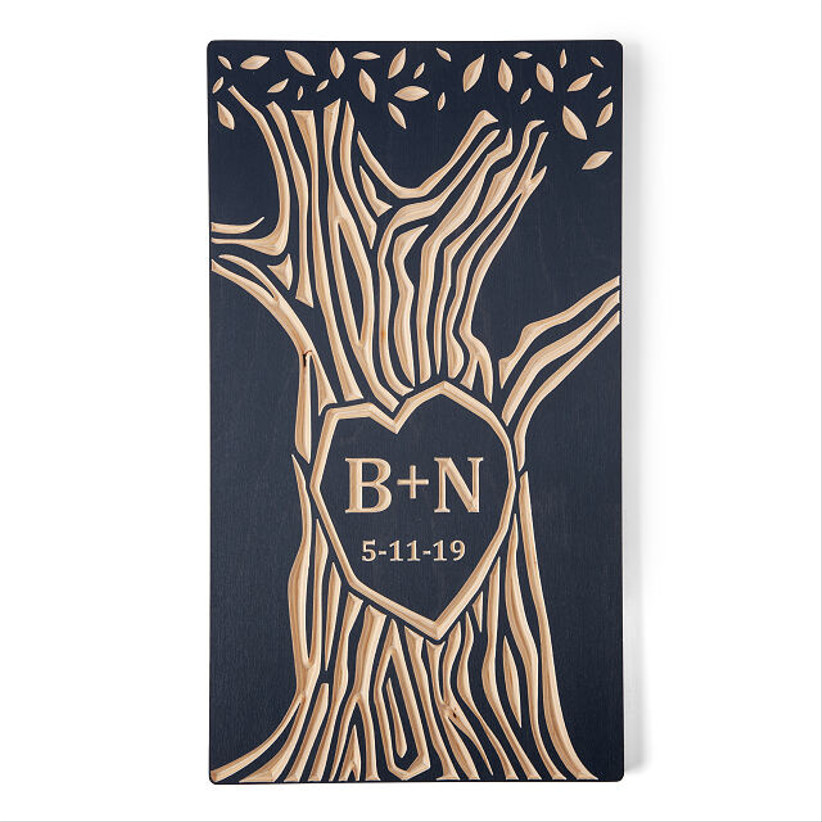 initials wooden tree wall hanging