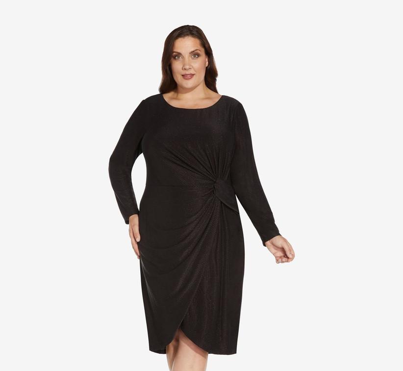 Sparkly black midi dress long sleeve winter wedding guest dress