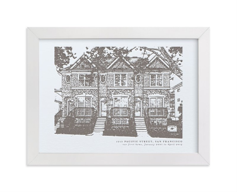 Custom letterpress house portrait daughter-in-law gift