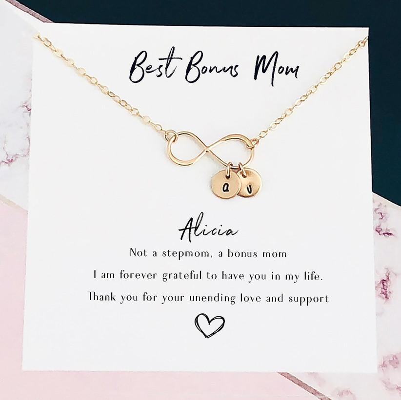 Best Bonus Mom infinity initial necklace stepmom gift