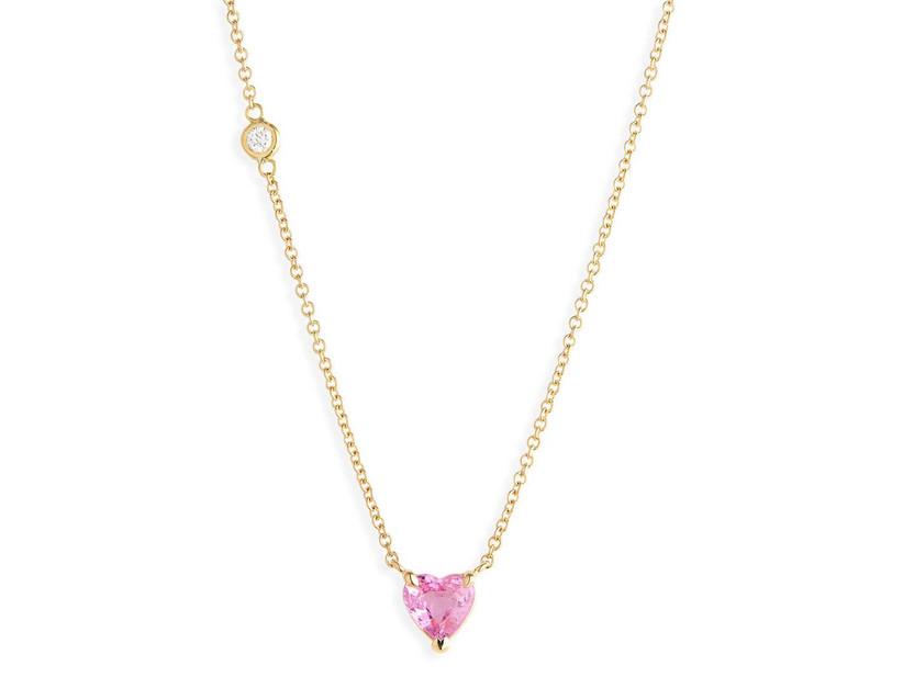 Pink sapphire heart pendant 45th anniversary gift