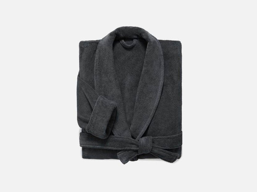 Plush black bath robe stepmom gift
