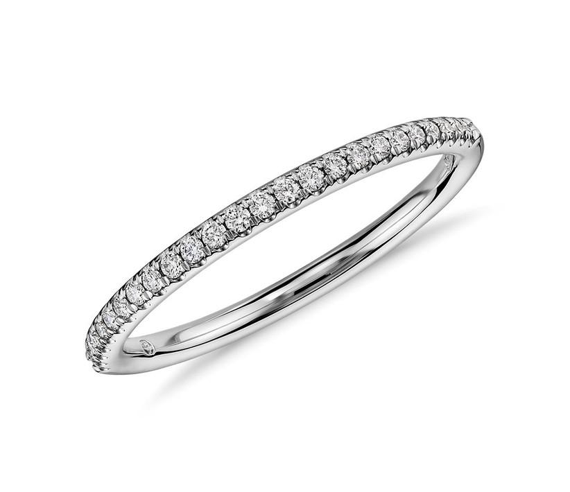 10 year anniversary gift micropave white gold diamond band