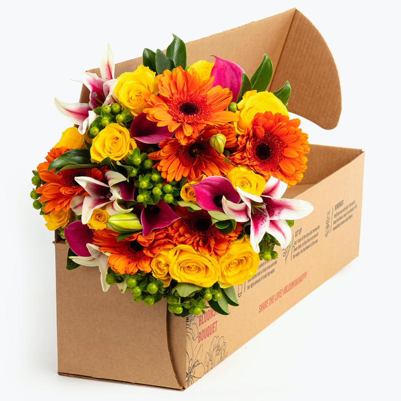 Colorful bouquet in BloomsyBox delivery box