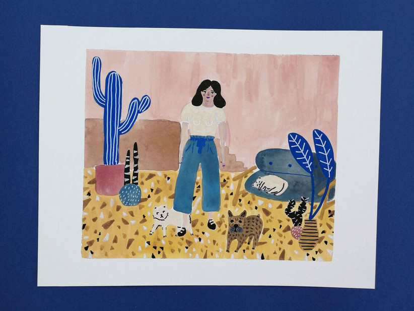 Custom illustrated portrait sister-in-law gift idea