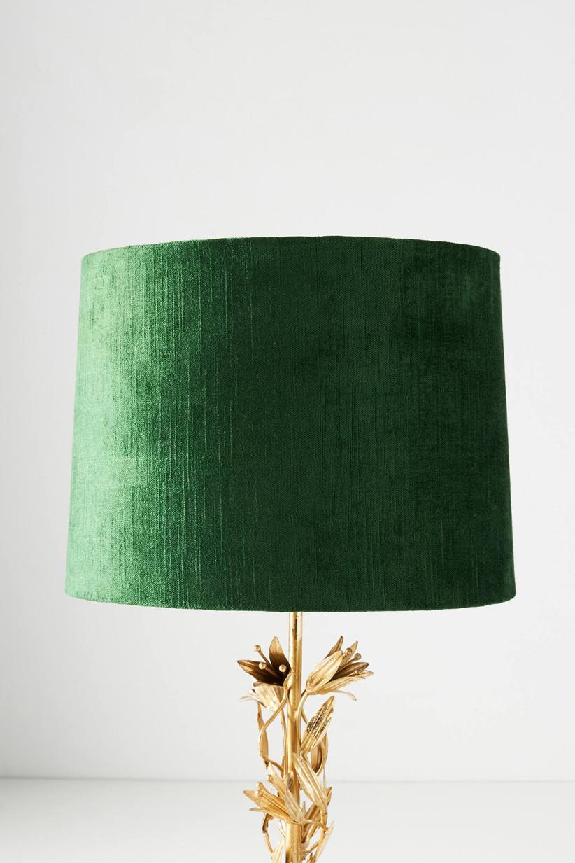 Emerald velvet lamp shade