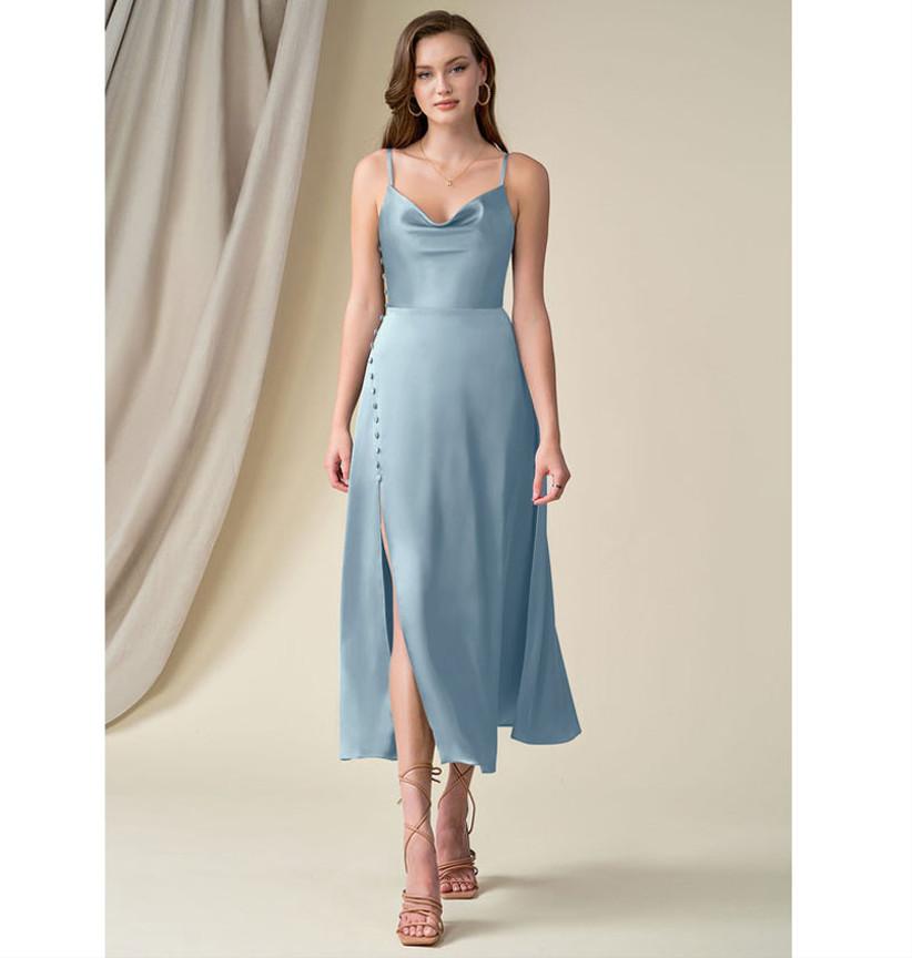 Dusty blue A-line satin dress for winter wedding guest