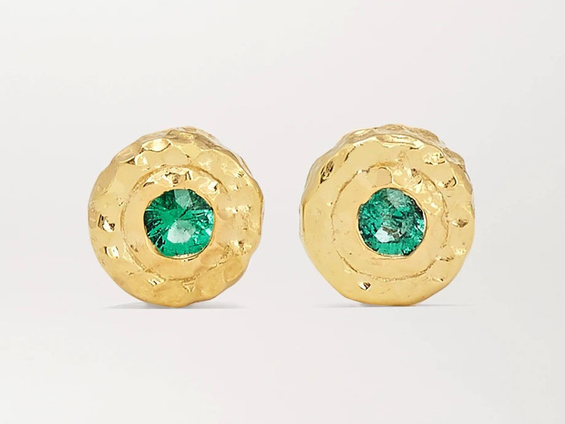 Emerald and recycled gold earrings 35th anniversary gift idea