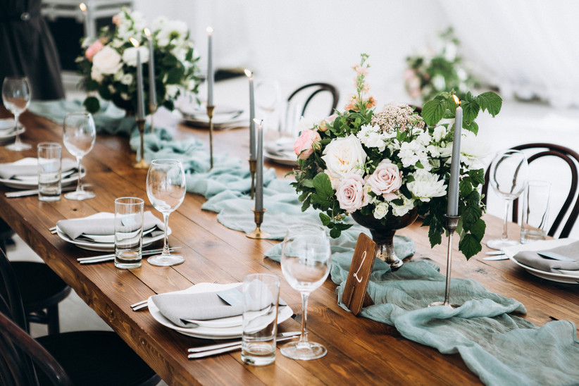 wedding tablescape with flowers and candles