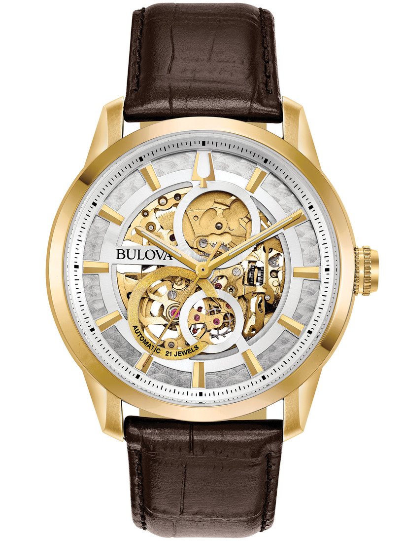Classic leather strap watch with exposed movement