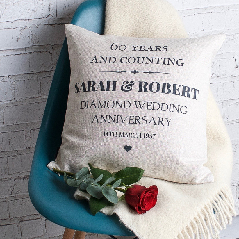 60 Years and Counting personalized throw pillow