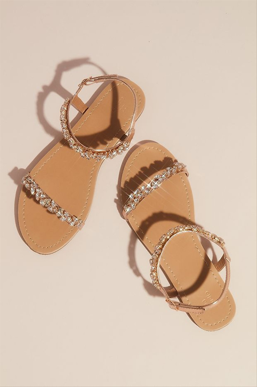 strappy beach wedding sandals with rose gold beading