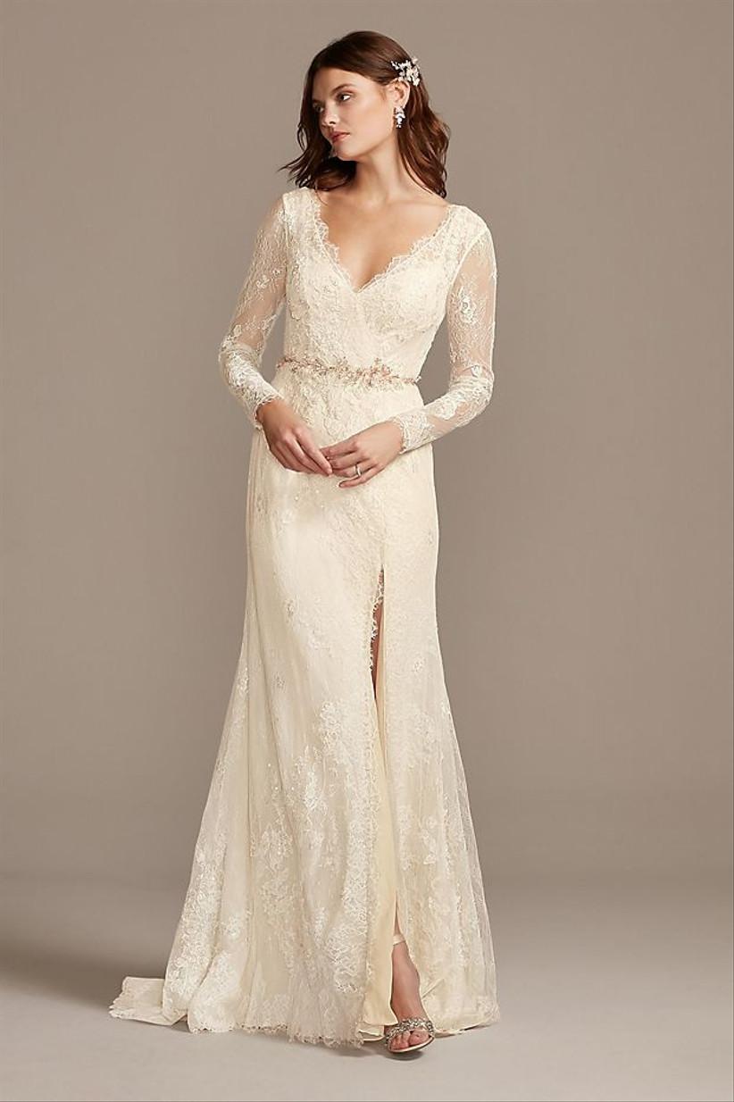 long sleeve courthouse wedding dress