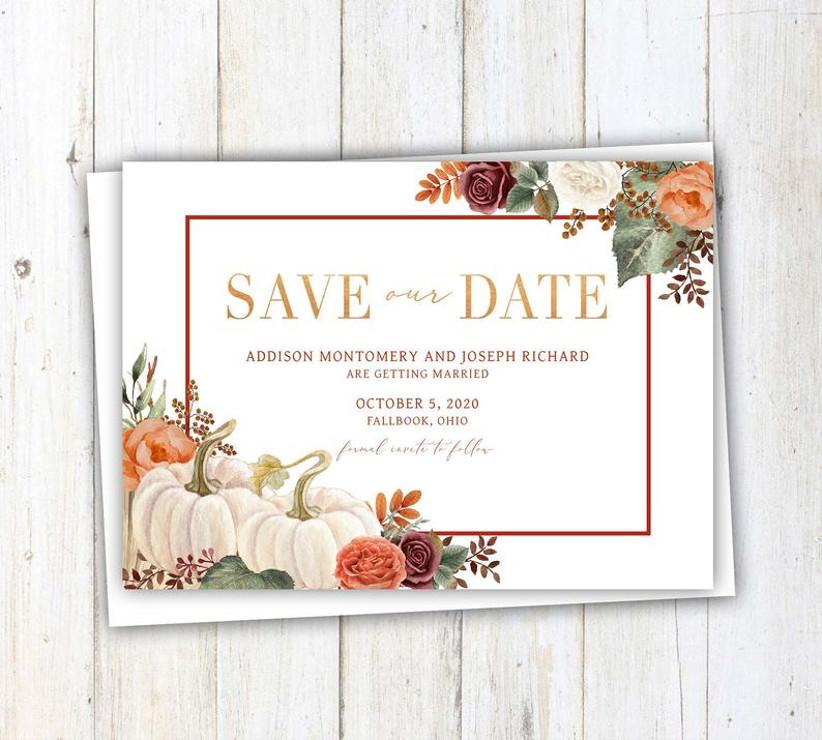 fall save the dates pumpkin