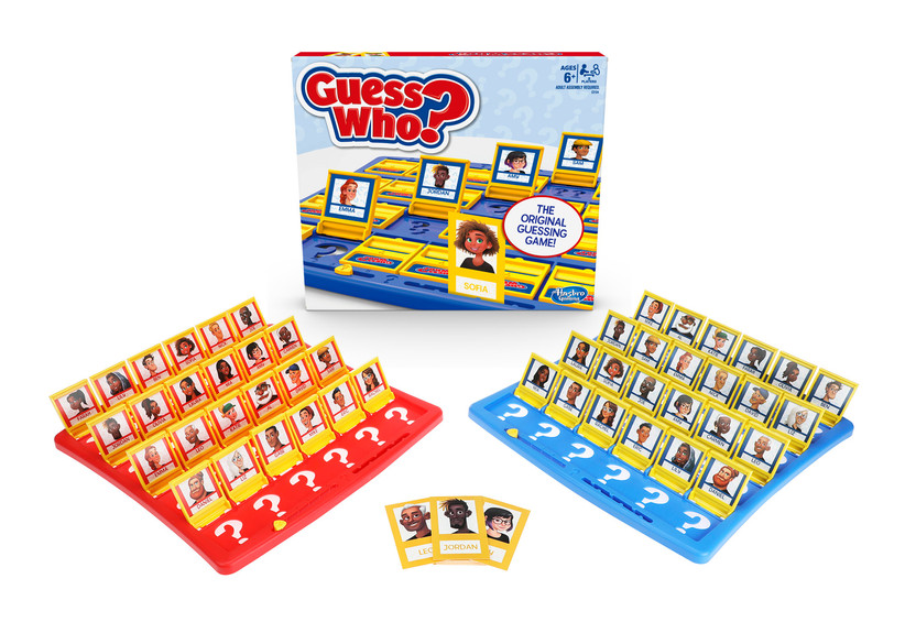 Guess Who? board game box with red and blue playing boards featuring different characters