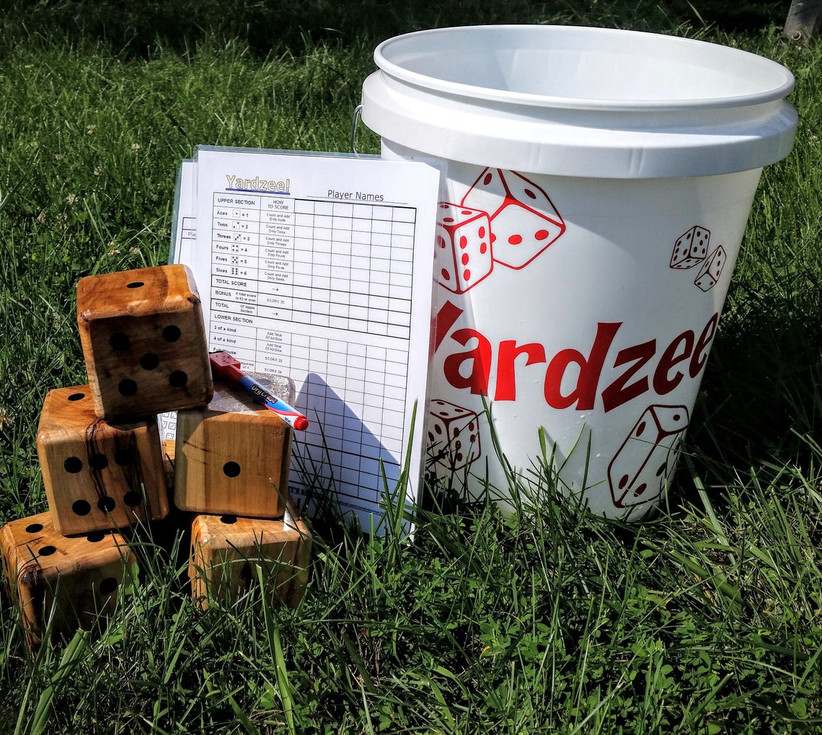 giant yardzee kit with plastic bucket, wooden dice and laminated score card
