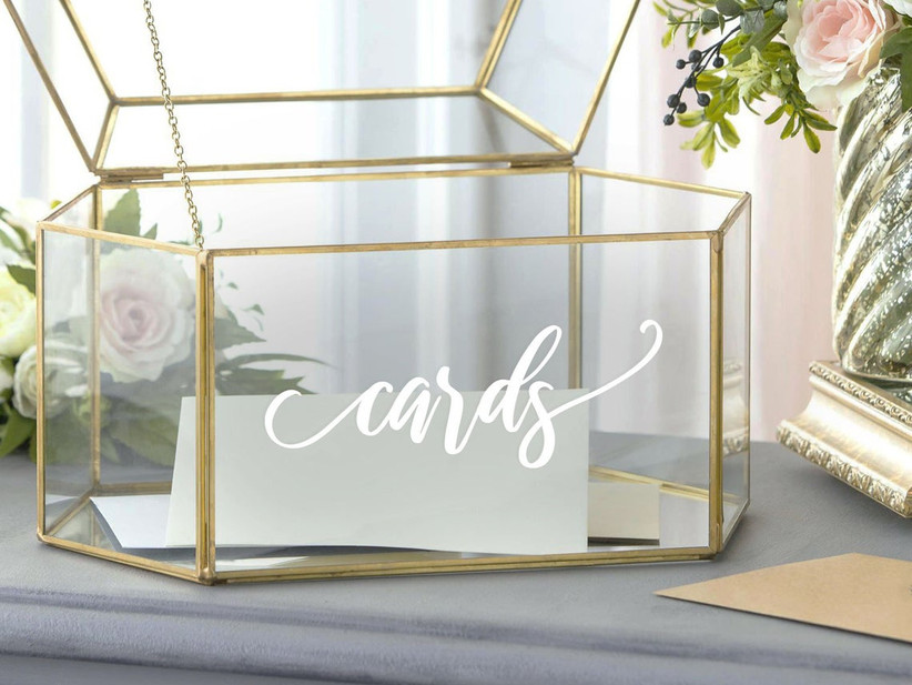 gold and glass geometric wedding card box with white calligraphy decal