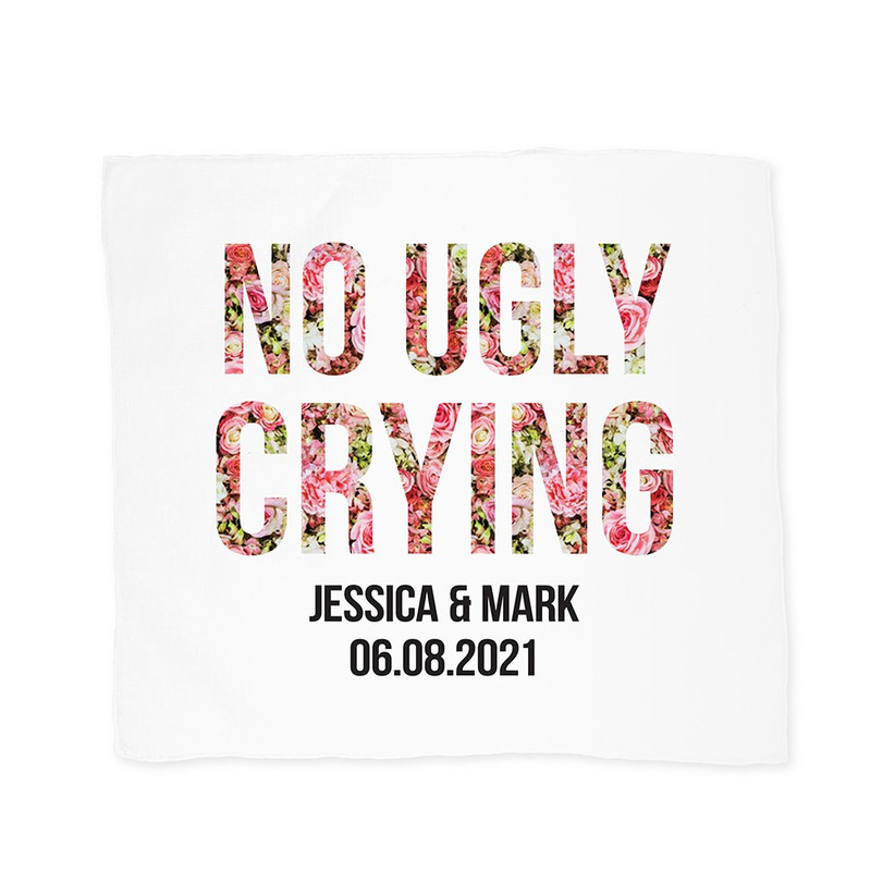 No Ugly Crying personalized hankie maid of honor proposal gift