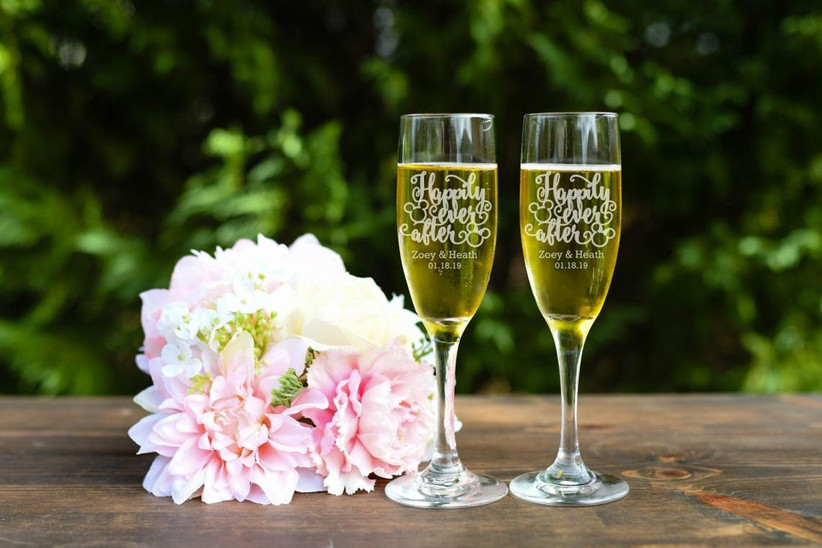 Matching Happily Ever After wedding champagne flutes