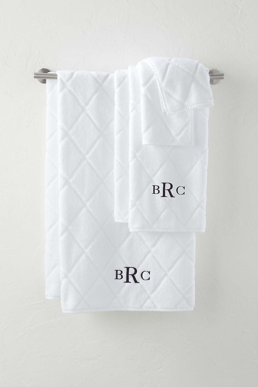White towel set with monogram