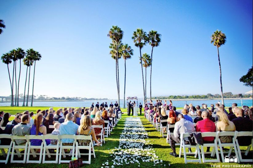 outdoor wedding ceremony with palm trees