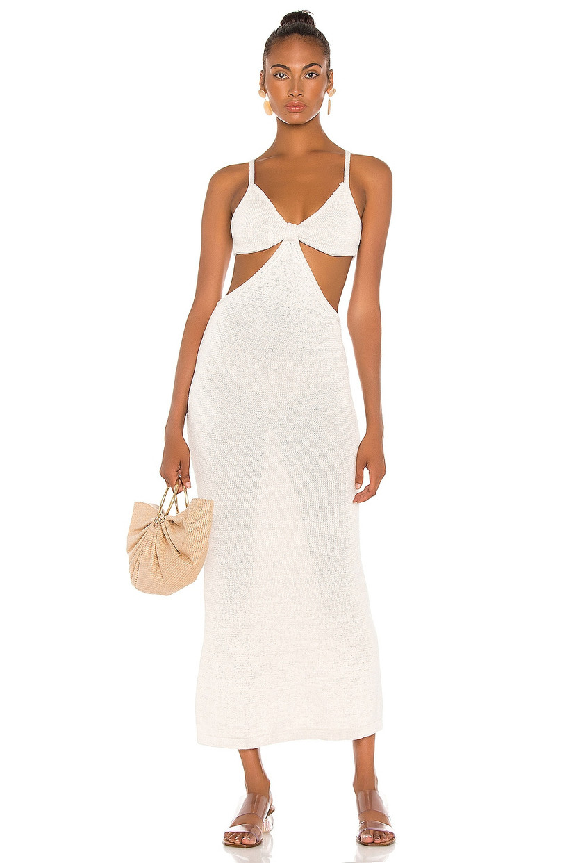 beach bachelorette party wedding dress knit swimsuit coverup with spaghetti straps and side cutouts at waist
