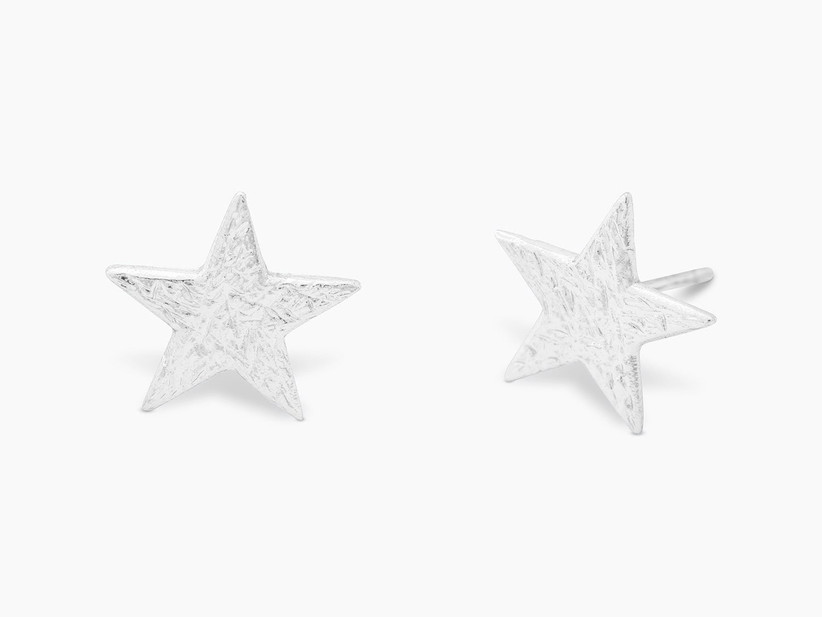 Small silver star stud bridesmaid earrings