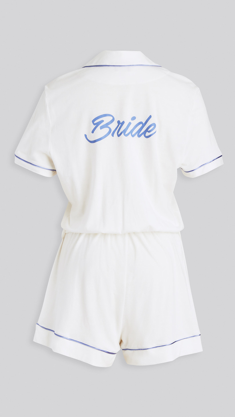 white and blue bride lounge romper