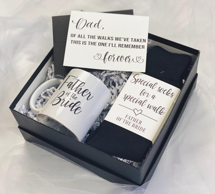 father of the bride gift box with mug and socks