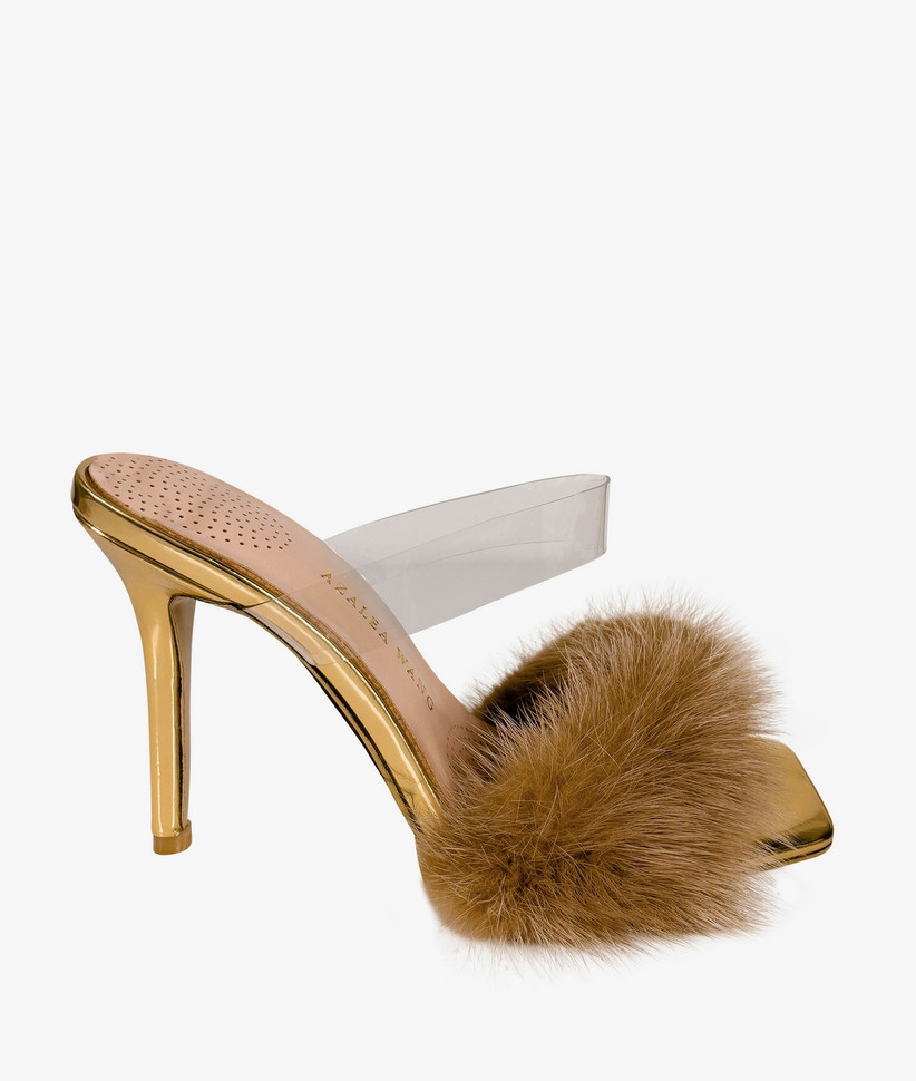 gold stiletto sandal with faux fur pom pom at toe