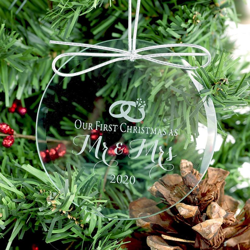 glass wedding christmas ornament