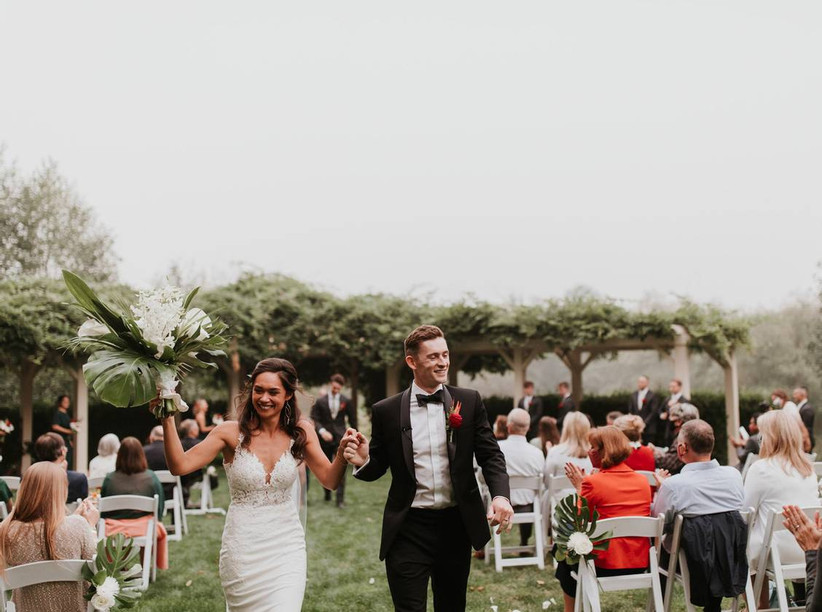 couple wedding recessional