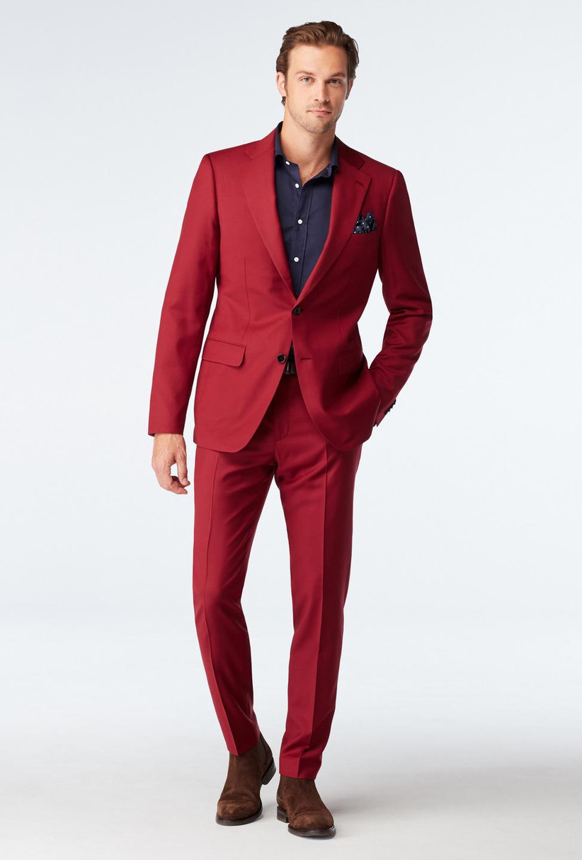 Bright red two-piece suit for summer wedding