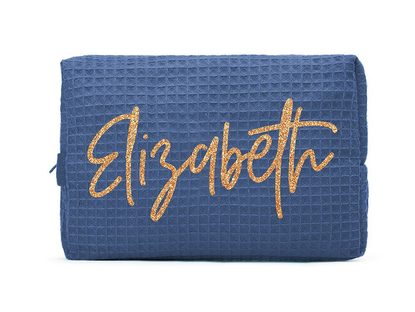 Personalized navy blue cotton waffle makeup bag for mother of the bride